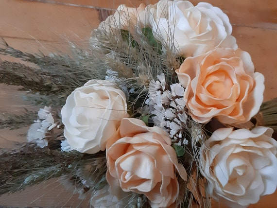 Wedding Roses Bouquet Pastel Beige And Cream English Tea Rises Etsy