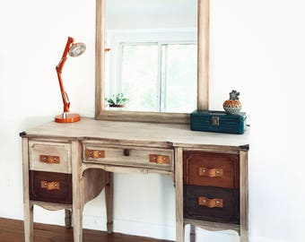 SOLD............Vintage Upcycled vanity dressing table desk