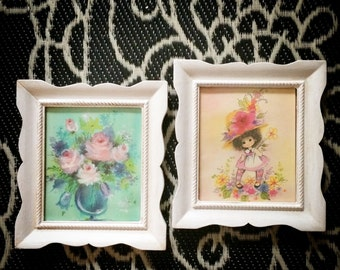 Vintage wood picture frames with adorable colorful picture art
