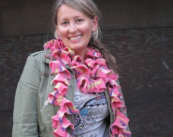 Knitted Wool Waterfall Scarf in Variegated Shades of Pink