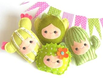 Happy Family-Set of Four Cacti-Felt cactuses-DIY-Felt succulents-Cactus pattern-PDF sewing pattern-Cactus Garland-Instant download-Desert