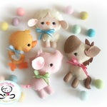 Farm Friends-Set of Four Farm Animals-PDF files-sewing pattern-Sheep-Horse-Pig-Chicken-Farm Animal ornaments-Nursery decor-Baby's mobile toy