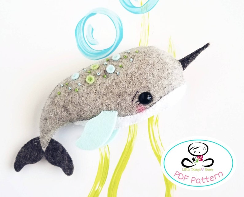 Little Narwhal PDF pattern-Sea animal toy-DIY-sea life image 0