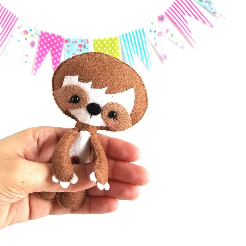 Little Sloth-PDF pattern-Baby Sloth-DIY Project-Wild Animals-Nursery  decor-Instant Download-Baby's mobile toy-Cute Sloth-Felt Animals