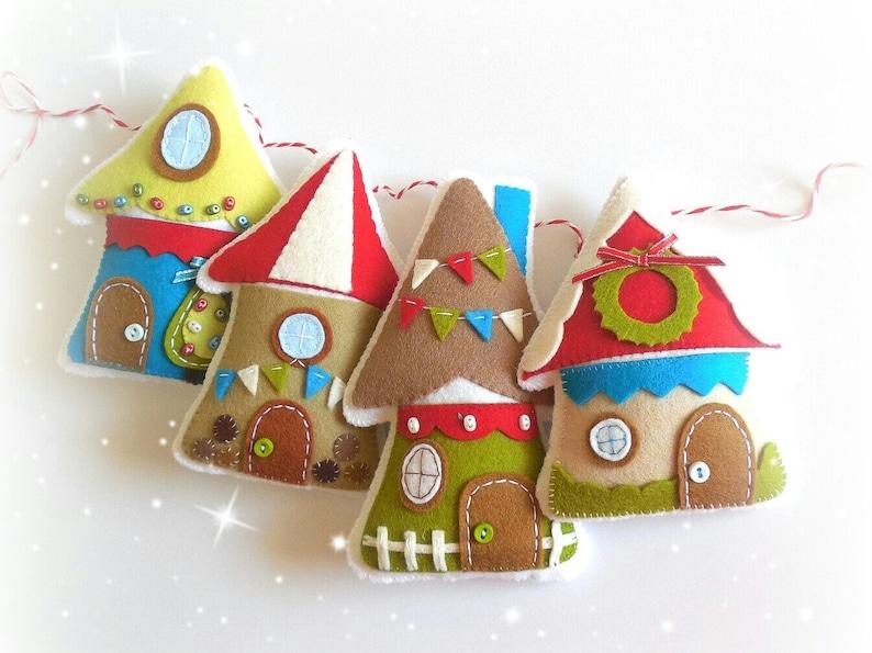 Christmas Village-PDF Pattern-Felt Christmas image 0