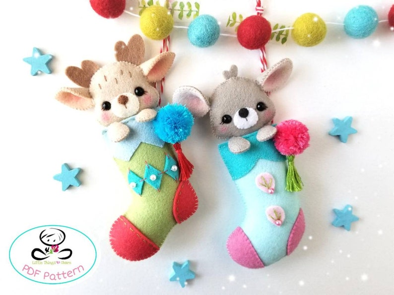 Sneaky animals Christmas Stockings-PDF Pattern-Felt Christmas image 0