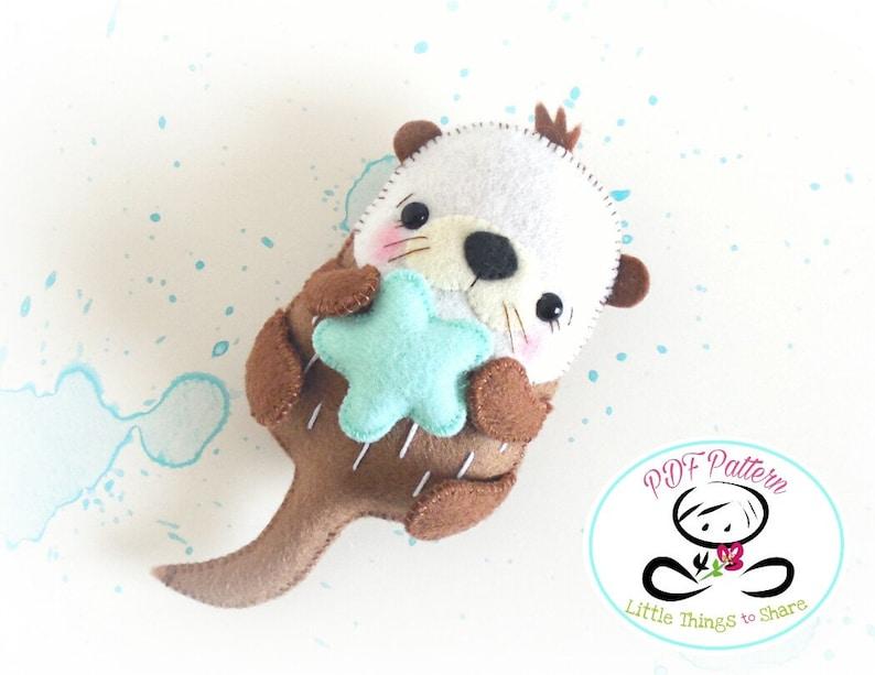 Bubble the Sea Otter PDF pattern-Sea animal toy-DIY-Nursery image 0