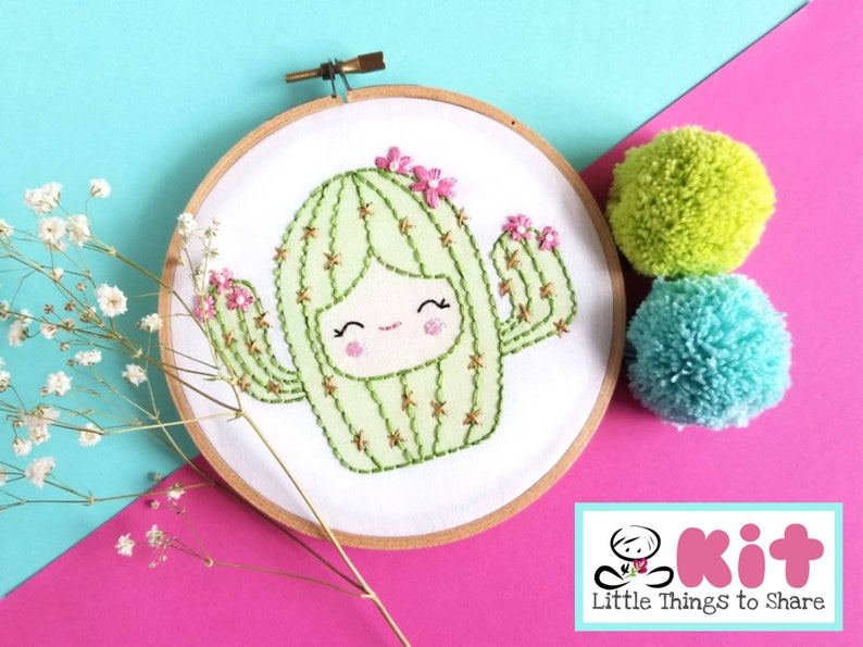 Baby Cactus Pre-Printed Fabric-Embroidery Kit-DIY embroidery image 0