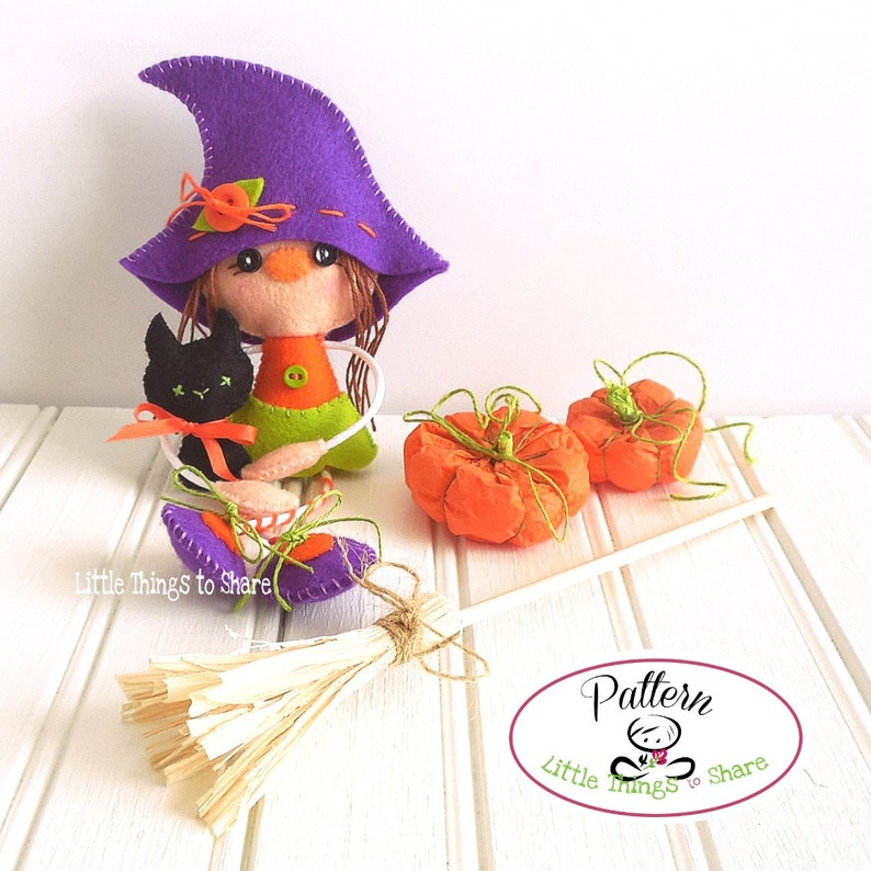 Witch and Cat-PDF Sewing pattern-Halloween ornaments-Halloween image 0