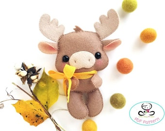 Autumn the Moose PDF pattern, Baby Moose plushie, DIY Project, woodland animals, Nursery décor, Instant Download, Baby's mobile toy