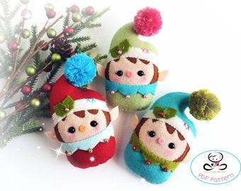 Baby Elf-PDF Pattern-Felt Christmas ornaments-Santa Helpers-DIY -Felt Garland-Gift tags-Cute elves-Christmas elves-felt pattern