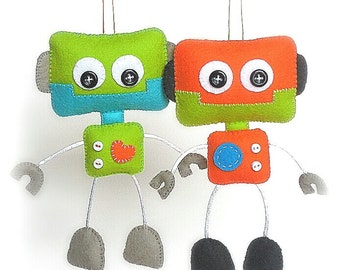 Smiley Robot-PDF sewing pattern-Cute Robot toy-DIY-Handmade plush-Felt toy pattern-Instant download-Boy present-Boy gift-Felt robot