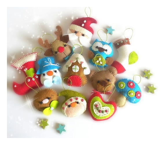Felt Christmas Tree Ornaments Patterns.Set Of Twelve Mini Christmas Ornaments Patterns Felt Pattern Pdf Christmas Ornaments Pattern Christmas Tree Ornaments Felt Ornaments