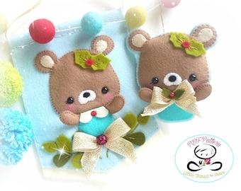 Christmas Bear Christmas Ornament-PDF Sewing Pattern-Xmas Banner-Stocking Stuffer-Felt ornament pattern-DIY Project-Bear