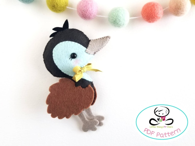 Baby Emu PDF sewing pattern-DIY-Emu toy pattern-Australian image 0