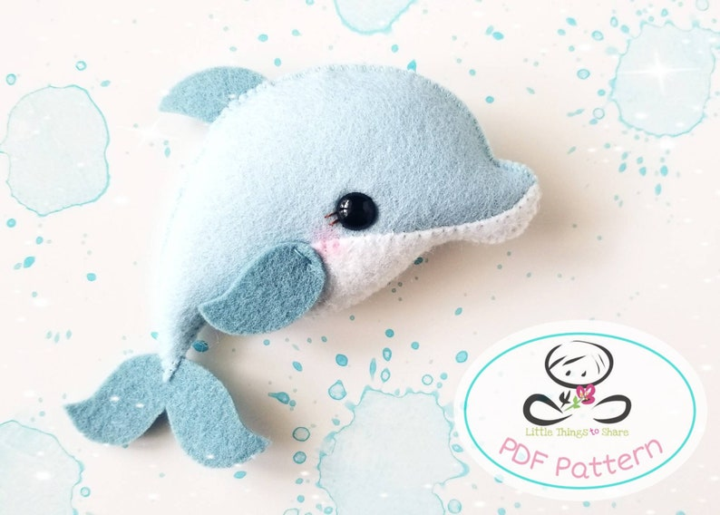 Little Dolphin PDF pattern-Sea animal toy-DIY-Baby image 0