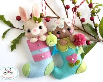 Pompom Mini Xmas Stockings-PDF Pattern, Felt Christmas Ornaments-Christmas Stockings Ornaments-Christmas Garland-Stockings