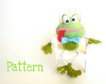 Skinny Frog-PDF sewing pattern-Cute Frog toy-DIY-Handmade plush-Felt toy pattern-Instant download-Small gifts-Saint Valentine's present