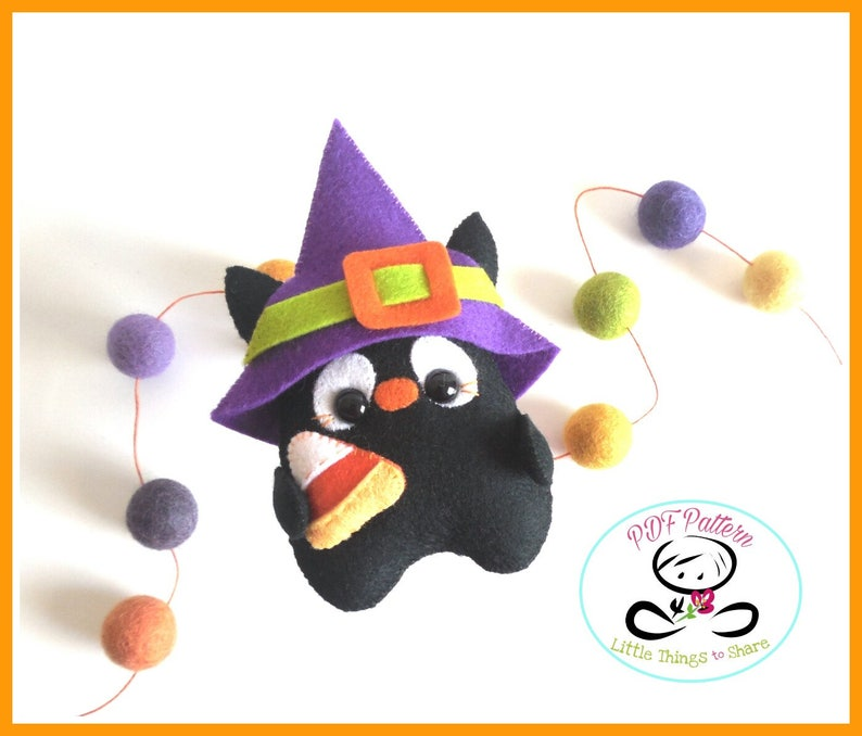Charcoal the Black Cat pattern PDF file-Halloween image 0