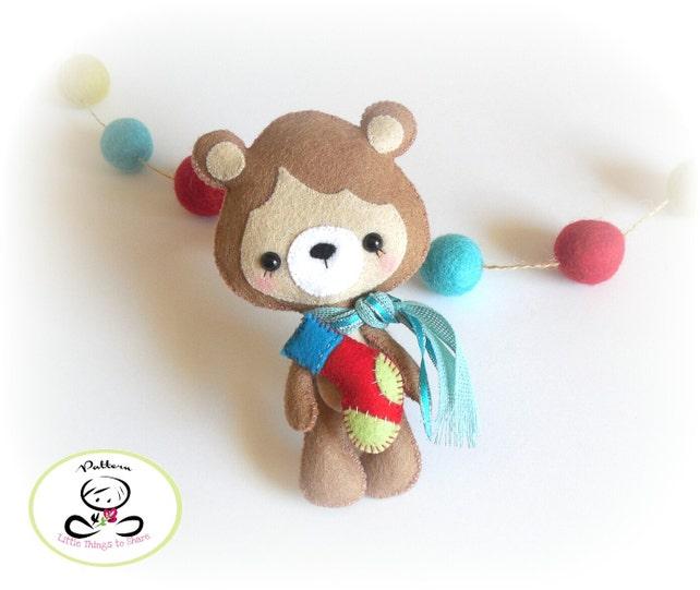 little bear christmas ornament pdf sewing pattern ornament etsy