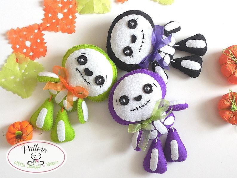 Sweet Skeleton PDF pattern-Halloween Ornament-Felt Halloween image 0