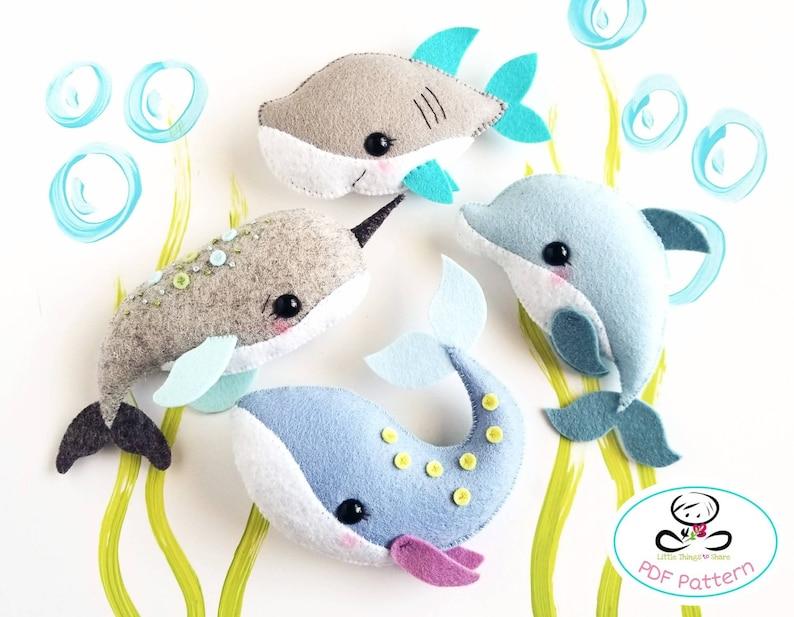 Sea Animals set of Four PDF sewing image 0