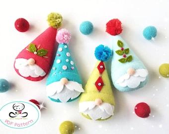 Festive Gnomes-PDF Pattern-Felt Christmas ornaments-Scandinavian Gnome-DIY Gnomes-Christmas Gnomes- Felt Garland-Gift tags-Nordic Gnome