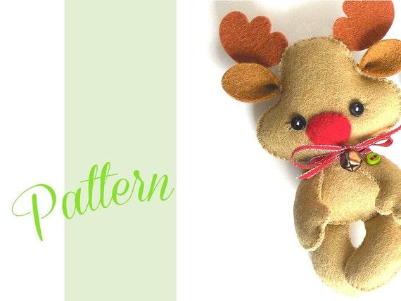 Reindeer christmas pdf ornament pattern felt christmas etsy image 0 maxwellsz