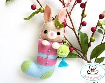 Bunny Christmas Stocking-PDF Pattern, Felt Christmas Ornaments pattern, Mini Christmas stocking