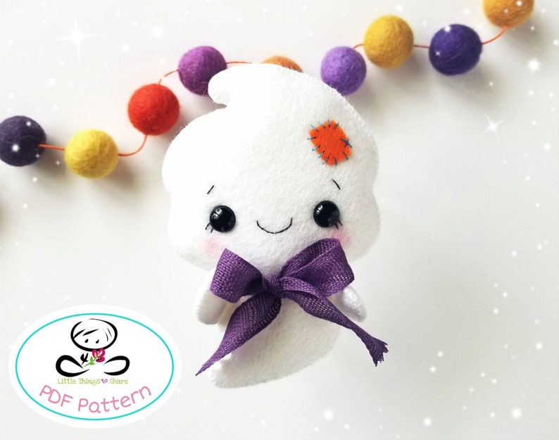 Ghost pattern-PDF file-Halloween Ornament-Felt image 0