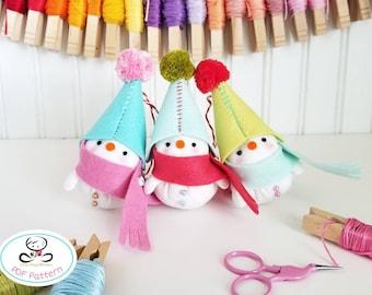 Festive Snowman, PDF Pattern, Felt Christmas ornaments, Felt snowman ornament, Christmas Tree ornament