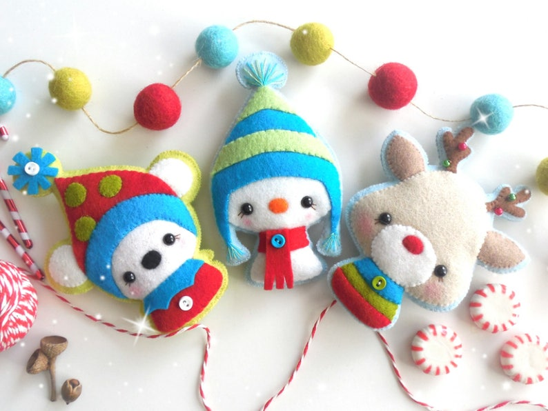 Christmas Critters-Ornament Patterns-Set of Three-DIY image 0