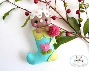 Gingerbread Man Christmas Stocking-PDF Pattern, Felt Christmas Ornaments pattern, Mini Christmas stocking