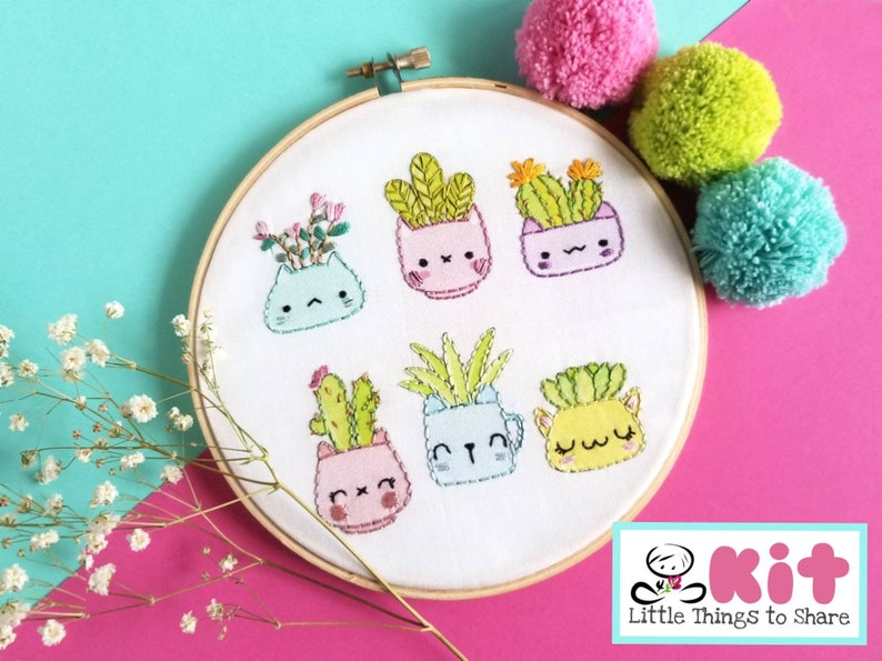 Kitty Planters Pre-Printed Fabric-Embroidery Kit-DIY image 0