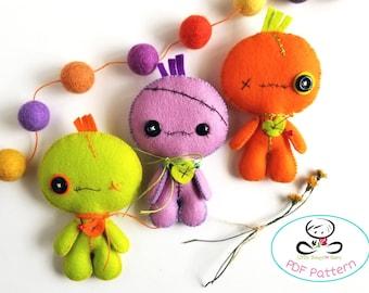 Voodoo Doll pattern-PDF file-Halloween Ornament-Felt Ornament-DIY-Instant download-Creepy doll-Halloween plush doll