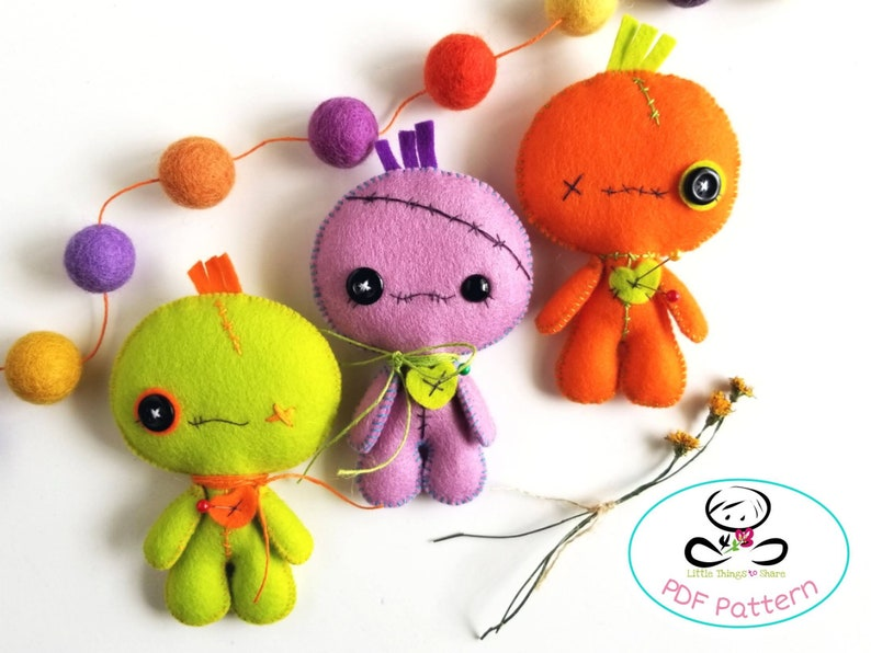 Voodoo Doll pattern-PDF file-Halloween Ornament-Felt image 0