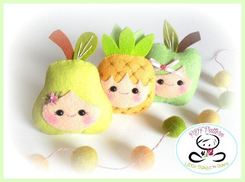 Happy Fruit-Felt pattern-Set of Three fruits-Felt fruit-DIY image 0