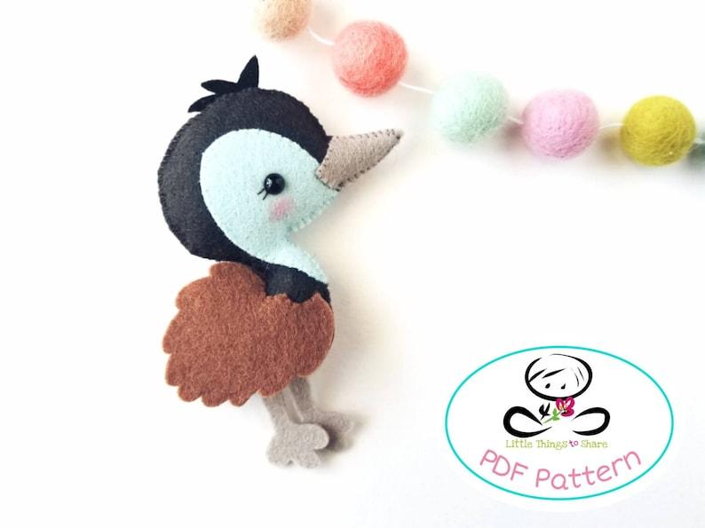 Baby Emu PDF sewing pattern-DIY-Emu toy pattern-Australian image 0