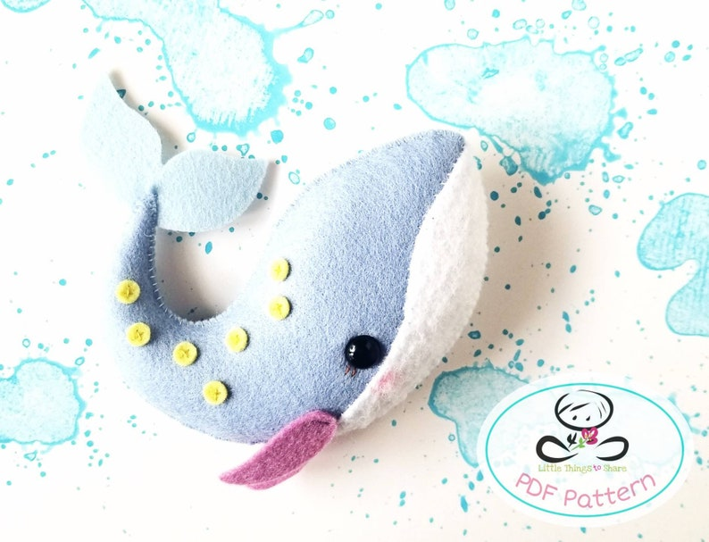 Little Whale PDF pattern-Sea animal toy-DIY-sea life image 0