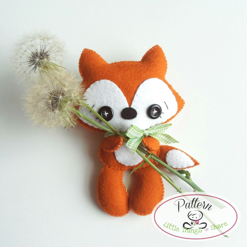 Tail Fox PDF pattern-Woodland animal toy-DIY-Nursery image 0