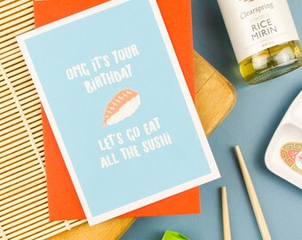 Sushi Birthday Card / Sushi Card / Birthday Card / Sushi Gift / Japanese / Cute Sushi / Cute Birthday Card / Kawaii Sushi / Japanese Food
