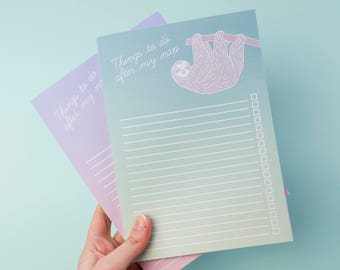 Sloth Notebook / Sloth To Do List Notepad / Cute To Do List Notebook/ Faultier / To Do List / Sloth Desk Pad / Grocery List Notepad