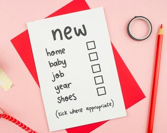 f5ebacdf8b65c Funny New Home Card / Funny New Baby Card / Funny New Job Card / Happy New  Year Card / New Home / New Baby / New Job / Congratulations Card