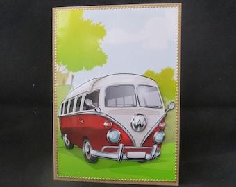 8fc8d455c1 3d Red Camper Van Card