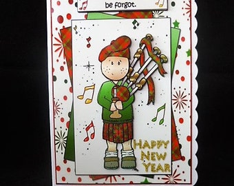 scottish piper new year card piper happy new year card 3d decoupage new years card handmade in uk
