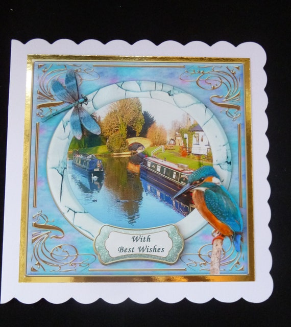 PERSONALISED NARROW BOAT CANAL BARGE BIRTHDAY FATHERS DAY etc CARD Illus insert
