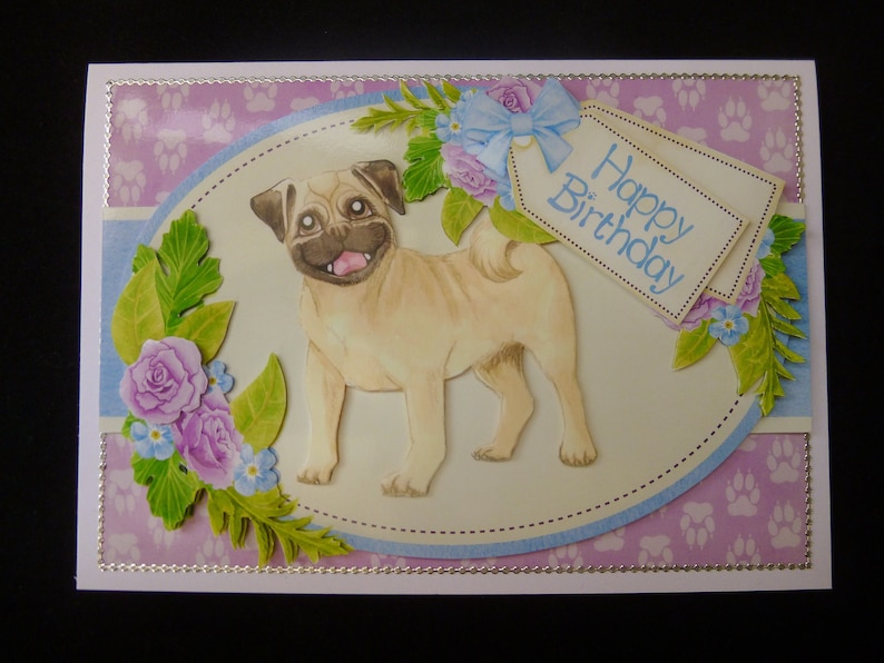 Pug Dog 3d Decoupage Birthday Card Personalised For