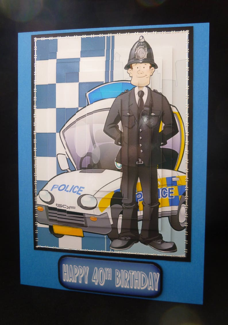 3d Decoupage Policeman Birthday Card Personalised Police Officer Handmade In UK