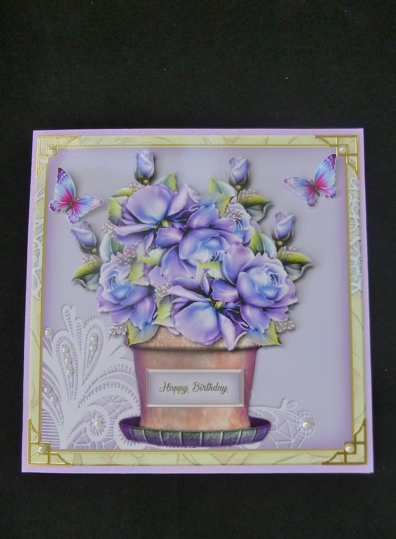 Flowerpot Of Roses Birthday Card 3d Decoupage Female Flowers