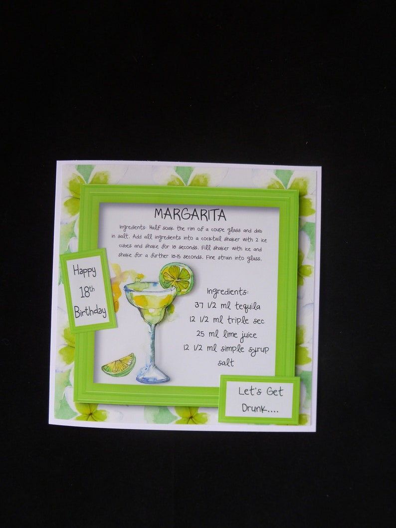 3d Margarita 18th Birthday Card Personalised Female Cocktail